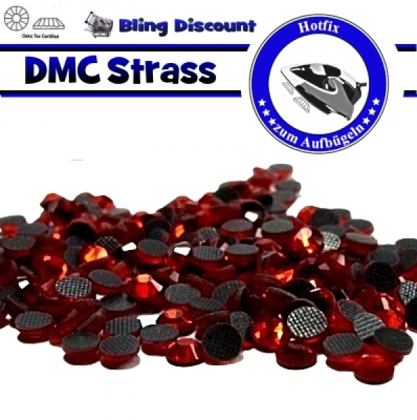 250 SS16 Hotfix DMC -facettierte Strasssteine Glas light Siam Hotfix